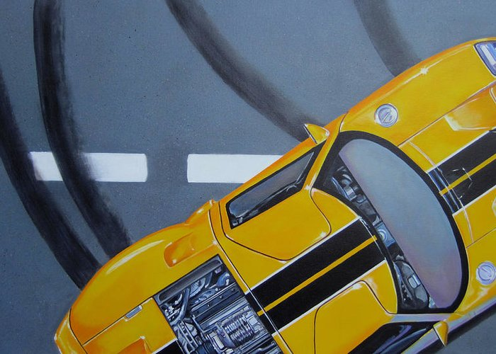 Car Greeting Card featuring the painting Out For A Spin by Lynn Masters