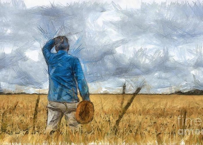 Farmers Field Drawings Greeting Cards