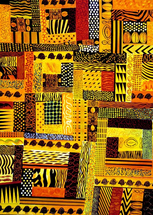 Quilt Pattern Greeting Card featuring the painting Out Of Africa by JoeRay Kelley