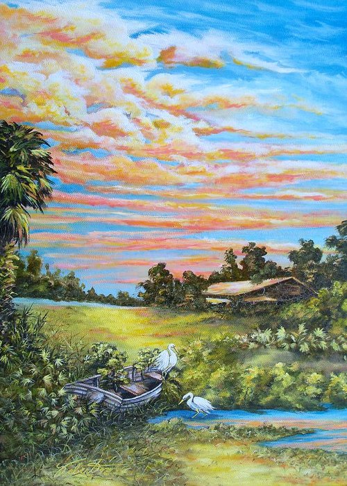 Landscape Greeting Card featuring the painting Out Of Commission by Dennis Vebert