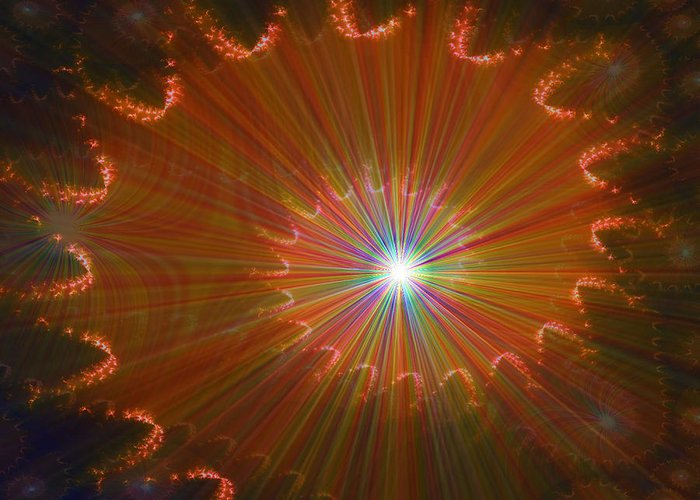 Super Nova Stars Another World Universe Abstract Spectrum Colorful Greeting Card featuring the digital art Out Of Control by Andrea Lawrence