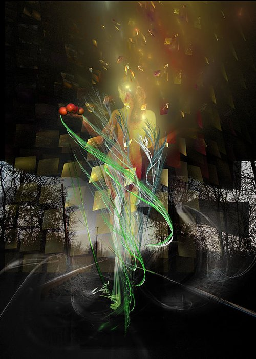 Digital Greeting Card featuring the digital art Out Of Darkness by Aniko Hencz