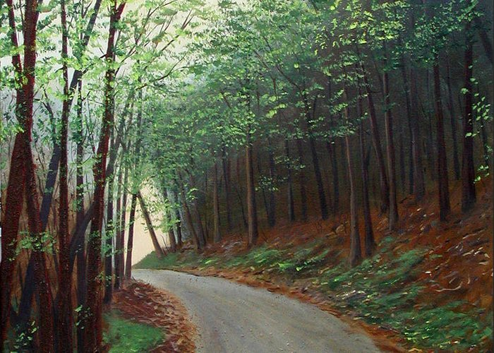 Original Acrylic On Stretched Canvas Landscape Path Forest Trees Greeting Card featuring the painting Out Of Darkness by Sharon Steinhaus