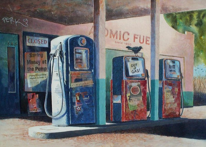Nostalgic Genre Greeting Card featuring the painting Out Of Gas by Don Trout