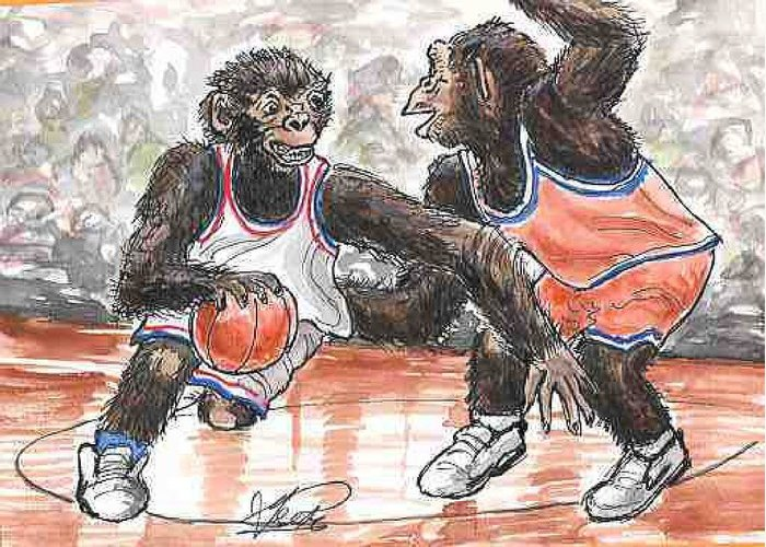 Basketball Greeting Card featuring the painting Out of my Way by George I Perez