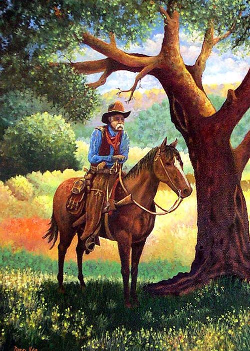 Texas New Mexico Cowboys Horses Trees Southwest Landscapes Giclee Prints Greeting Card featuring the painting Out Of The Noon Day Sun by Donn Kay