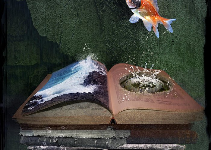Fish Greeting Card featuring the digital art Out Of The Pond by Mary Hood