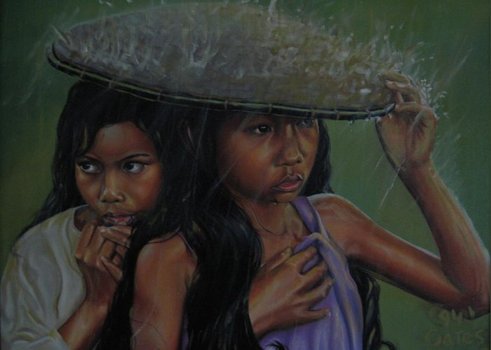 Asian Greeting Card featuring the painting Out Of The Rain by Todd Gates