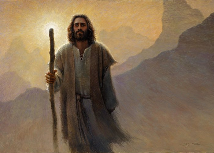 Jesus Greeting Card featuring the painting Out Of The Wilderness by Greg Olsen