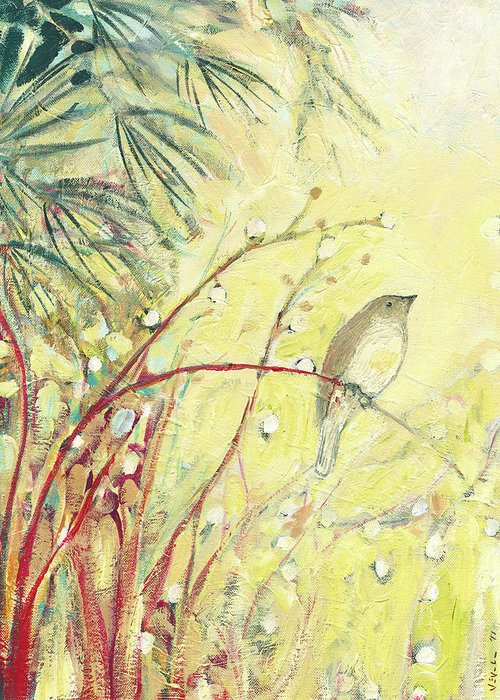 Bird Greeting Card featuring the painting Out On A Limb by Jennifer Lommers