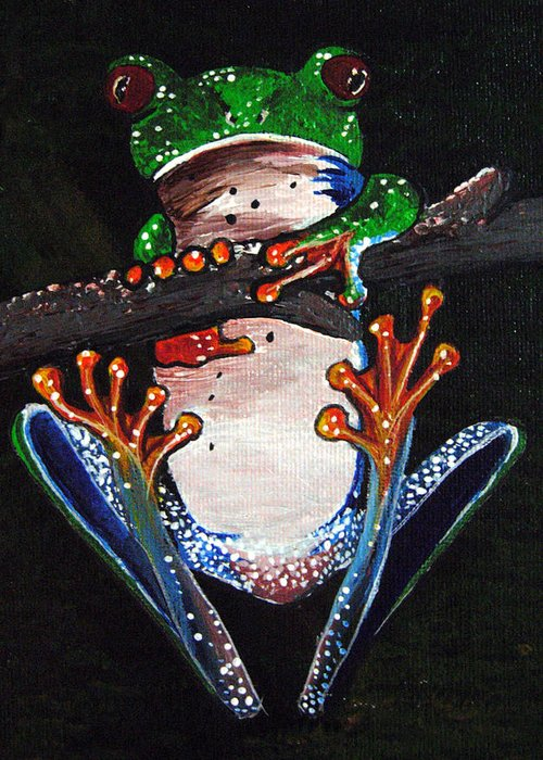 Tree Frog Greeting Card featuring the painting Out On A Limb by Sharon Supplee