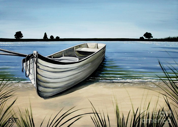 Boat Greeting Card featuring the painting Out On The Water by Elizabeth Robinette Tyndall