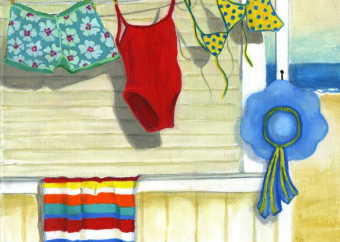 Beach Greeting Card featuring the painting Out To Dry by Debbie Brown