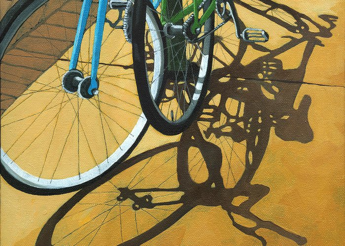 Bicycle Greeting Card featuring the painting Out To Lunch by Linda Apple