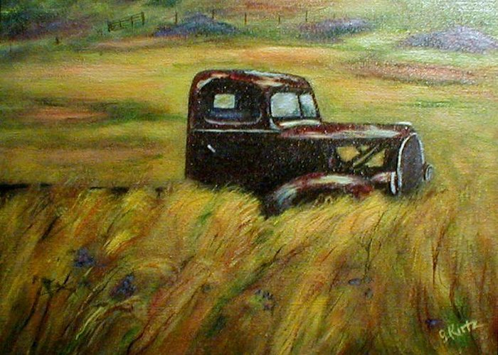 Vintage Truck Greeting Card featuring the painting Out To Pasture by Gail Kirtz
