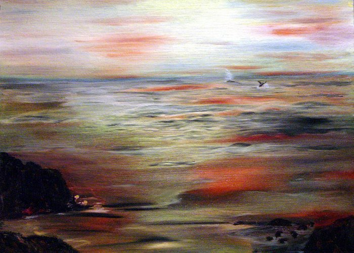 Seascape Greeting Card featuring the painting Out to Sea by Julie Lamons