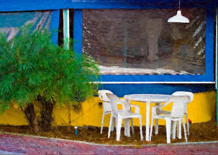 Table Greeting Card featuring the painting Outdoor Cafe by Peter J Sucy
