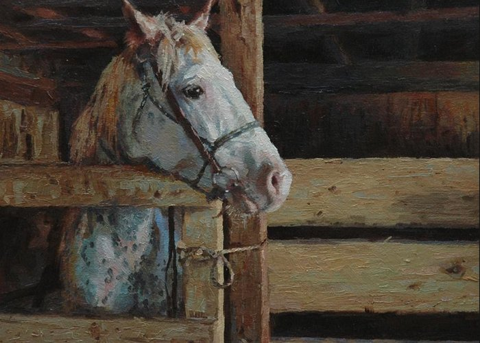 Horse Greeting Card featuring the painting Outdoor Girl by Jim Clements