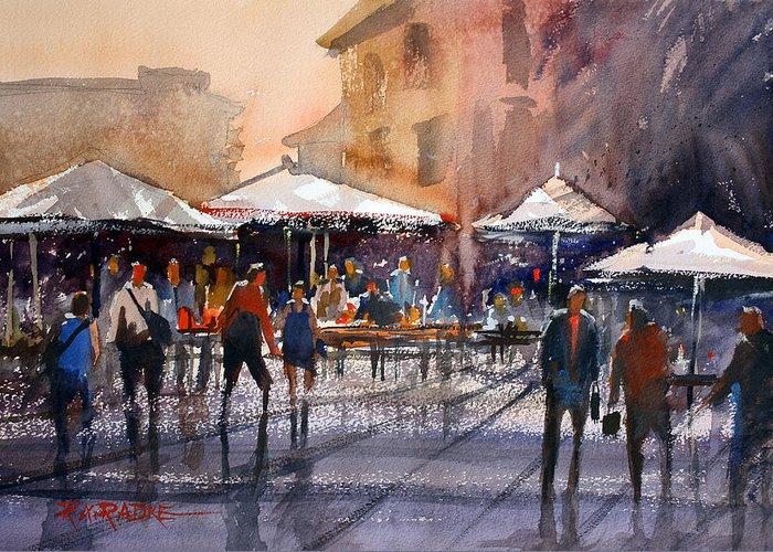 Ryan Radke Greeting Card featuring the painting Outdoor Market - Rome by Ryan Radke