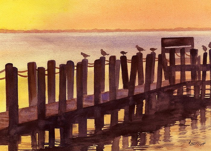 Birds Greeting Card featuring the painting Outer Banks by Marsha Elliott