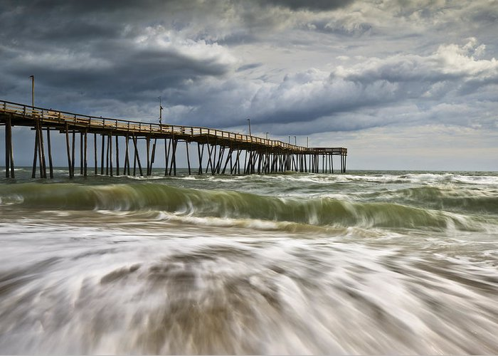 Cape Hatteras Nc Greeting Card featuring the photograph Outer Banks Nc Avon Pier Cape Hatteras - Fortitude by Dave Allen
