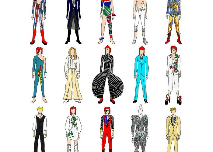 Bowie Greeting Card featuring the digital art Outfits Of Bowie by Notsniw Art