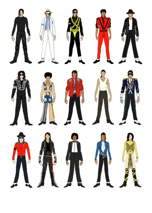 Michael Jackson Greeting Card featuring the digital art Outfits of Michael Jackson by Notsniw Art