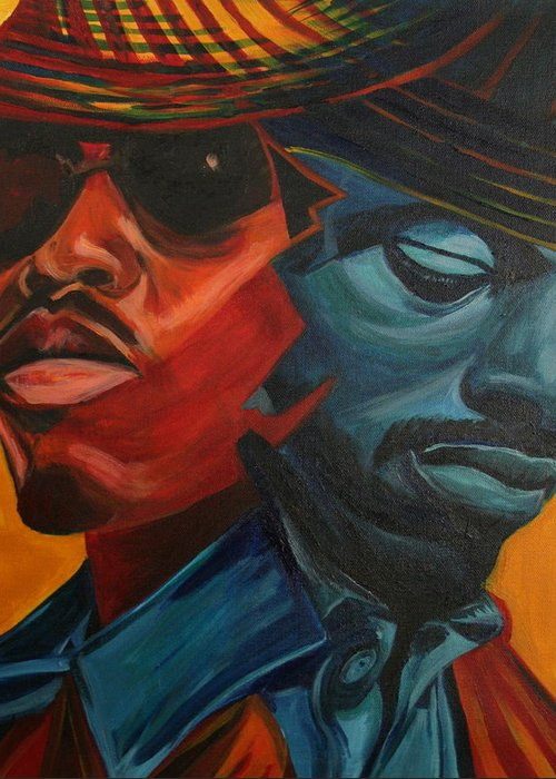 Big Boi Greeting Card featuring the painting Outkast by Kate Fortin