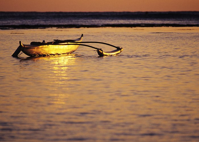 Aku Greeting Card featuring the photograph Outrigger And Sunset by Joss - Printscapes