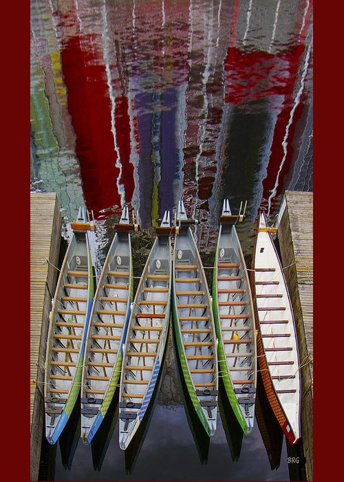 Canoing Greeting Card featuring the photograph Outrigger Canoe Boats And Water Reflection by Ben and Raisa Gertsberg