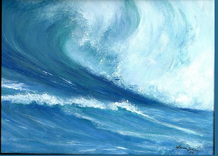 Wave Greeting Card featuring the painting Outside Looking In by Laura Johnson