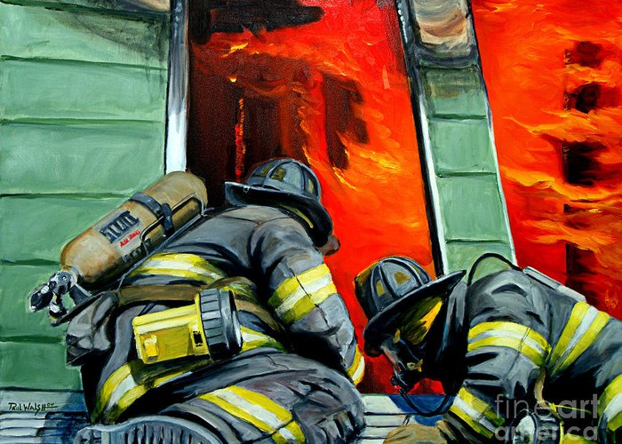 Firefighting Greeting Card featuring the painting Outside Roof by Paul Walsh