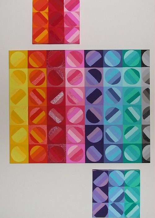 Multi Colored Circles Painting Greeting Card featuring the painting Over And Under The Rainbow by Gay Dallek