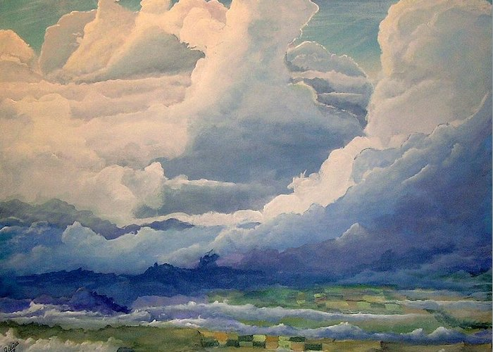 Clouds Greeting Card featuring the painting Over Farm Land by John Wise