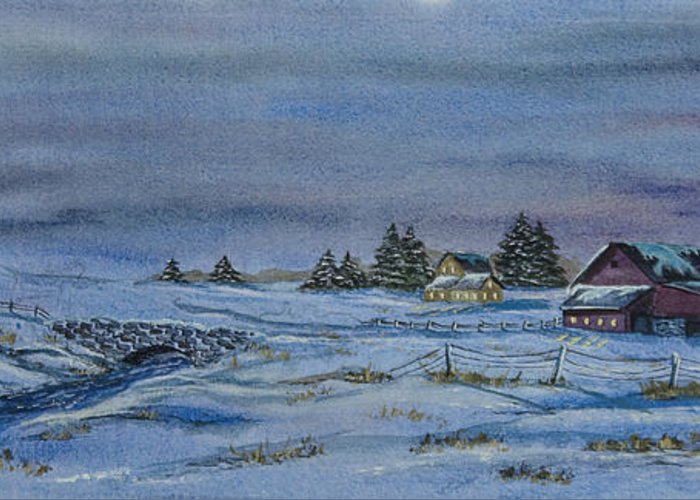 Winter Scene Paintings Greeting Card featuring the painting Over The Bridge And Through The Snow by Charlotte Blanchard