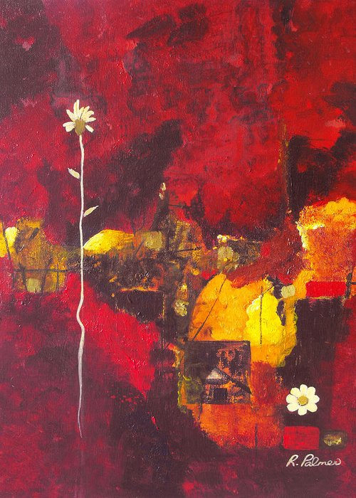 Abstract Greeting Card featuring the painting Over The Broken Fence by Ruth Palmer