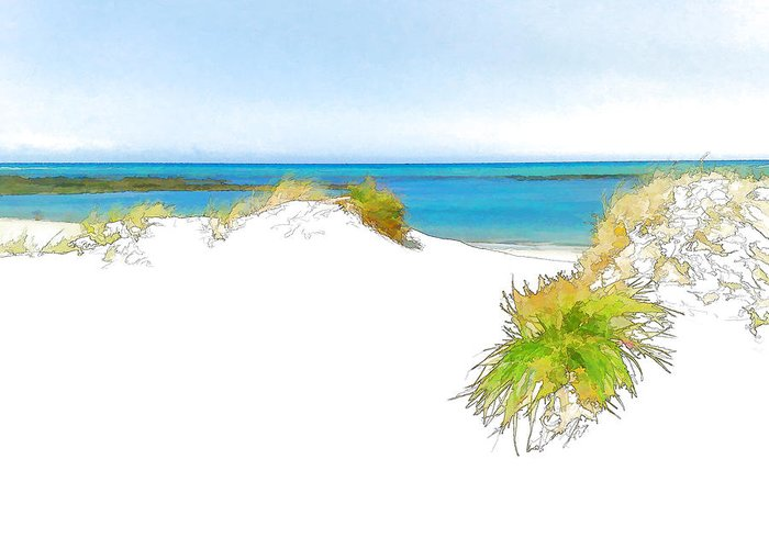Sand Greeting Card featuring the digital art Over The Dunes 2 by Jan Hattingh