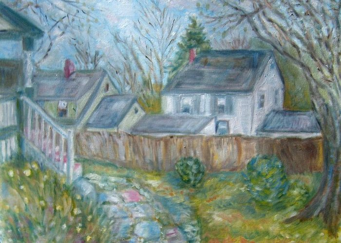 Landscape Houses Fence Trees Back Yard Flowers Greeting Card featuring the painting Over The Fence 3 Dd by Joseph Sandora Jr