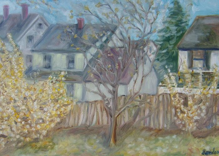 Landscape Houses Fucia Bush Fence Flowers Greeting Card featuring the painting Over The Fence by Joseph Sandora Jr