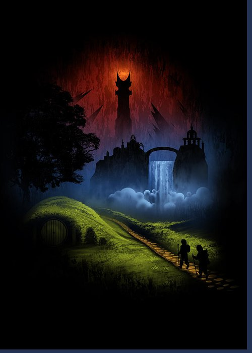 Lord Of The Rings Greeting Card featuring the digital art Over The Hill by Alyn Spiller