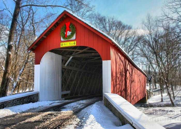 Covered Bridge Greeting Card featuring the photograph Over The River And Through The Woods by DJ Florek