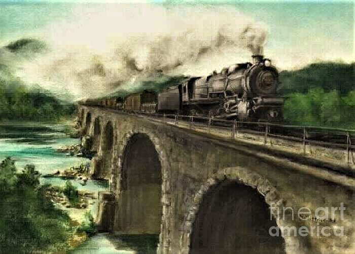 Steam Engine Greeting Card featuring the painting Over the River by David Mittner