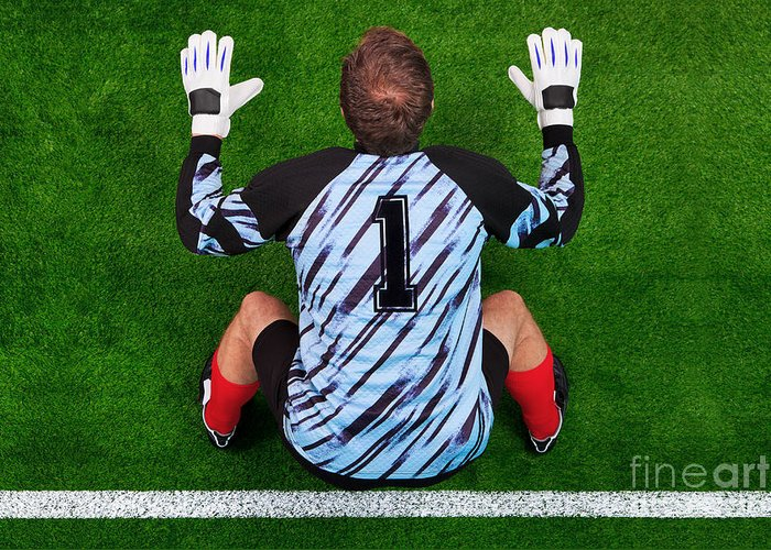 Football Greeting Card featuring the photograph Overhead Shot Of A Goalkeeper On The Goal Line by Richard Thomas
