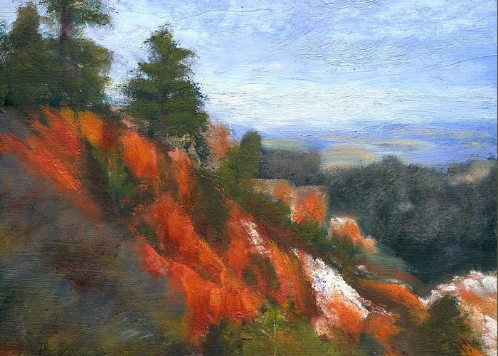 Southwest Greeting Card featuring the painting Overlook by Gail Kirtz