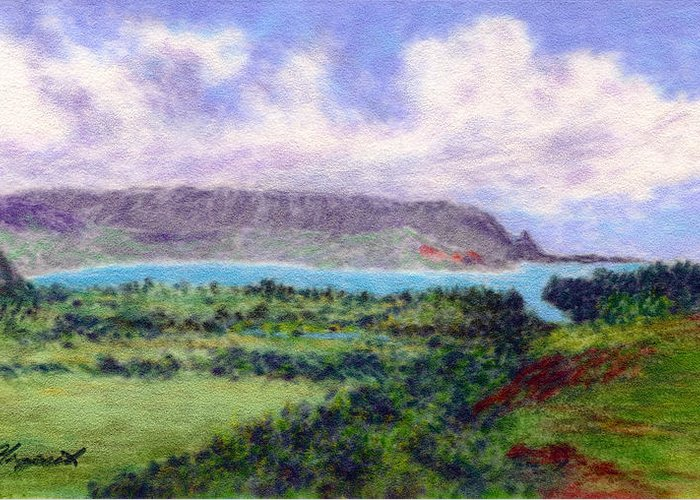 Rainbow Colors Pastel Greeting Card featuring the painting Overlook by Kenneth Grzesik