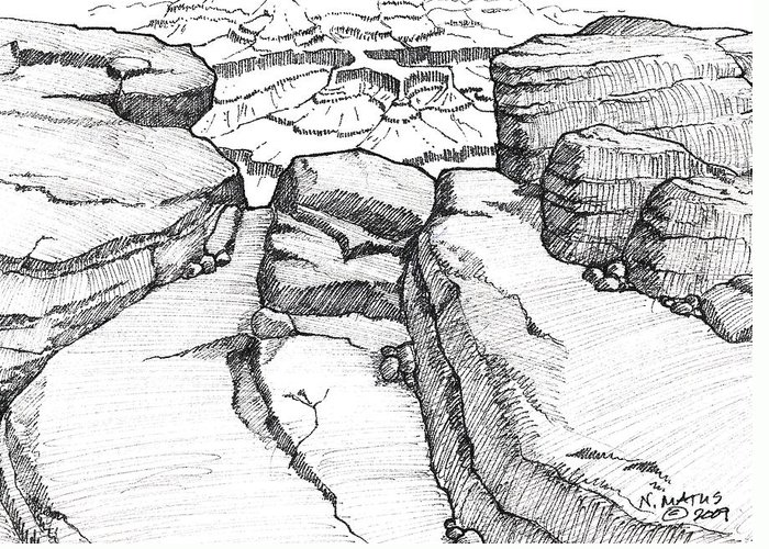 Canyon Greeting Card featuring the drawing Overlook by Nancy Matus