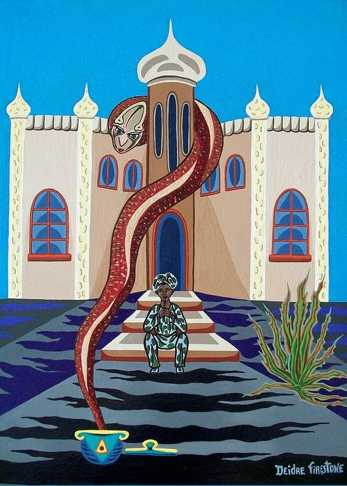 Snake Art Greeting Card featuring the painting Overlooked By Poisonous Terror by Deidre Firestone