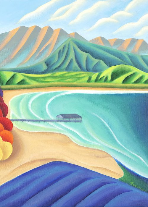Landscape Greeting Card featuring the painting Overlooking Hanalei Bay by Lynn Soehner