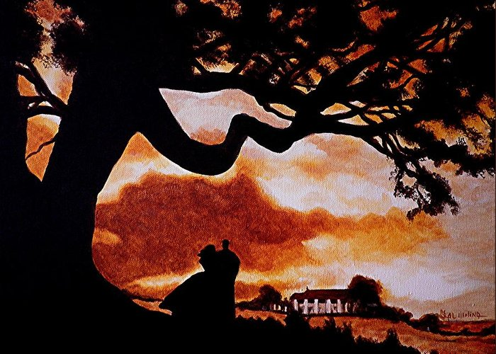 Gone With The Wind Greeting Card featuring the painting Overlooking Tara At Sunset by Al Molina