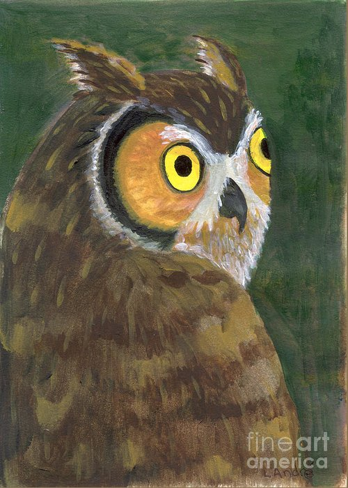 Owl Greeting Card featuring the painting Owl 2009 by Lilibeth Andre